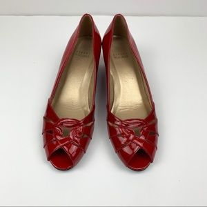 Stuart Weitzman Red Patent Leather Peep toe Wedge